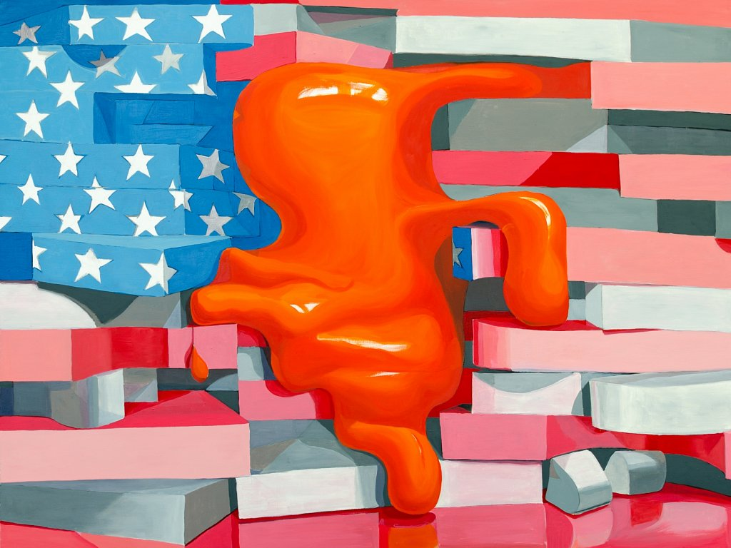 Orange Blob on Flag, 2019