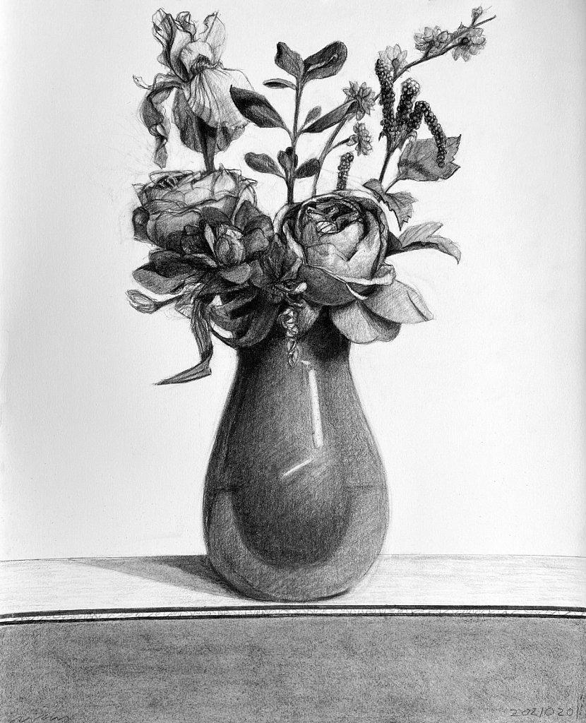Flowers in an Orange Vase, 2021