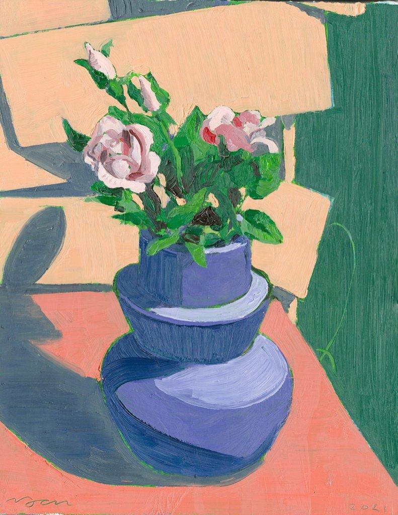 Pink Flowers in Purple Vase, 2021